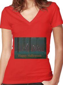 A Skeleton Halloween Women's Fitted V-Neck T-Shirt