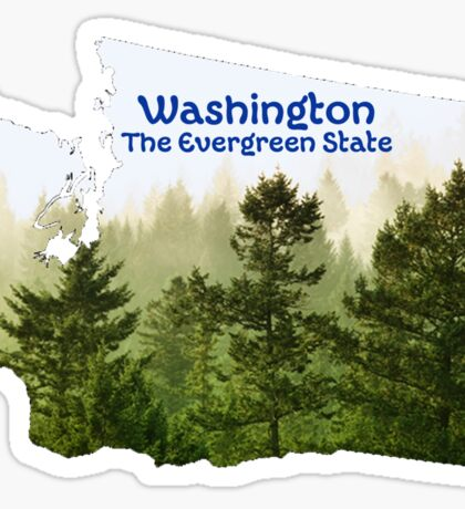 Washington Map with State Nickname:  The Evergreen State Sticker