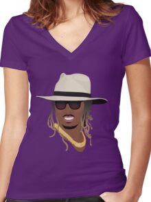 Hip Hop Portrait 8 Women's Fitted V-Neck T-Shirt