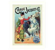 Vintage French shoe polish advert, clowns Art Print