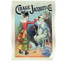 Vintage French shoe polish advert, clowns Poster