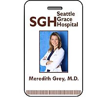 Meredith Grey Key Card Sticker Photographic Print