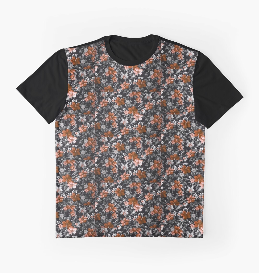 Hawaiian floral patter graphic tshirt graphic t shirts for Hawaiian graphic t shirts