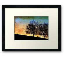 Trees in winter - yellow version Framed Print