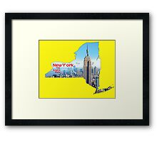 New York Map with State Nickname:  The Empire State Framed Print