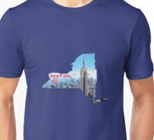 New York Map with State Nickname:  The Empire State Unisex T-Shirt