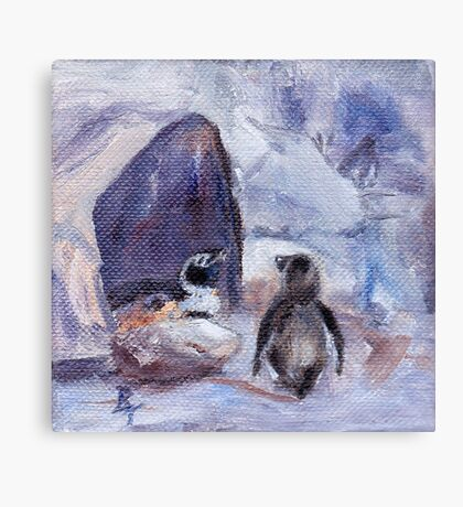Nesting Penguins Canvas Print