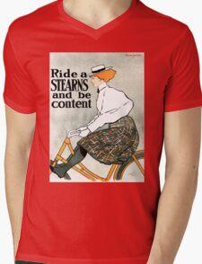 American art nouveau ladies' bicycling advert Mens V-Neck T-Shirt