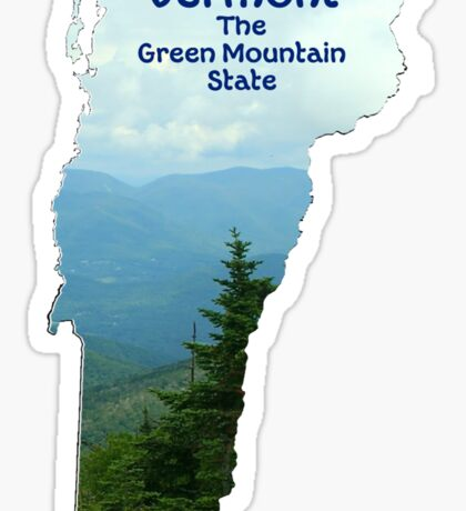 Vermont Map with State Nickname:  The Green Mountain State Sticker