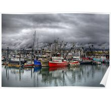 Boats In The Harbor - HDR Poster