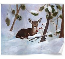 Holly Berry Deer Original Painting Poster