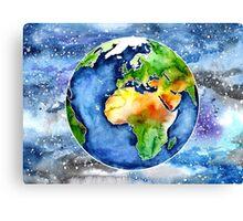 Watercolour Earth Canvas Print