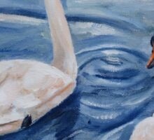 Simply Swans Original Oil Painting Sticker