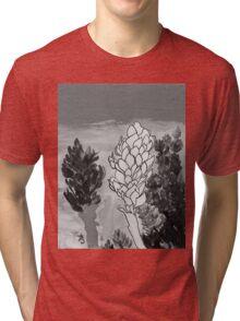 Alpinia purpurata – Red Ginger Flower - Black and White Greyscale Tri-blend T-Shirt