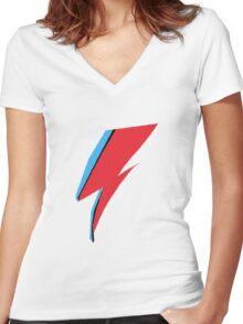 David Bowie / Ziggy Stardust Makeup Women's Fitted V-Neck T-Shirt