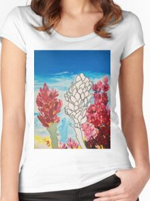 Alpinia purpurata – Red Ginger Flower, Nature in Bogota, Colombia  Women's Fitted Scoop T-Shirt
