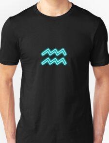 Bright Aqua Blue Neon - Aquarius the Water Bearer Star Sign T-Shirt