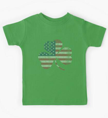 Irish American Flag Shamrock Kids Tee