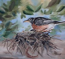 Nesting Robin by Brenda Thour