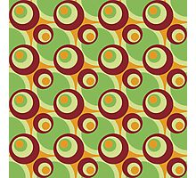 Cool retro cross-eyed circles green, red, gamboge Photographic Print