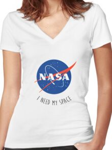 I Need My Space Colour Women's Fitted V-Neck T-Shirt