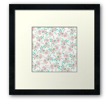 Pink white pastel watercolor lily floral pattern Framed Print