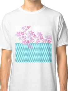 Fuchsia teal abstract floral chevron pattern Classic T-Shirt