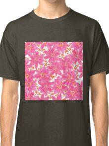 Pink orange watercolor poinsettia floral pattern  Classic T-Shirt