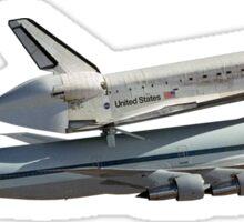 Space shuttle on 747 Sticker