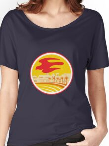 Peregrine Falcon Silhouette Oval Retro Women's Relaxed Fit T-Shirt