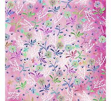 Hand painted pink white blue watercolor floral Photographic Print