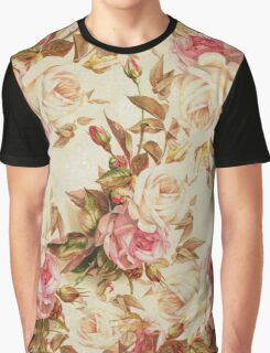 Chic vintage pink white brown roses floral pattern Graphic T-Shirt