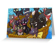 Anime Black Cats Greeting Card