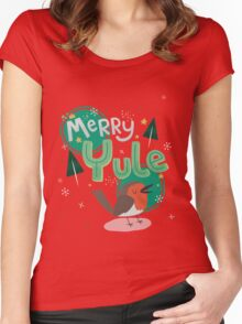 Merry Yule Robin Card Women's Fitted Scoop T-Shirt