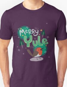 Merry Yule Robin Card Unisex T-Shirt