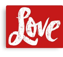 Bold Love Hand Lettering - Modern Distressed Calligraphy Word for Valentine - Red White Canvas Print