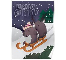 Christmas Reindeer Sledging On A Snowy Hill Poster