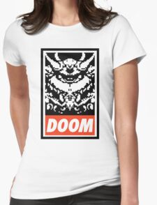DOOM (OBEY Parody) - White Shirt Version Womens Fitted T-Shirt