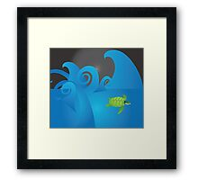 Chaotic Water, Calm Turtle Framed Print