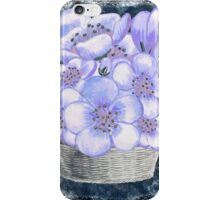 Basket With Blue Flowers iPhone Case/Skin