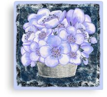 Basket With Blue Flowers Canvas Print