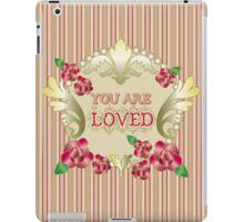 You Are Loved Red Roses Gold Ornaments Pearls Stripes iPad Case/Skin