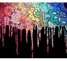 Rainbow Zentangle Paint Drip Photographic Print
