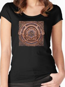 Aztec Time Travel Pendant Medallion Women's Fitted Scoop T-Shirt