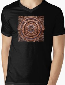 Aztec Time Travel Pendant Medallion Mens V-Neck T-Shirt