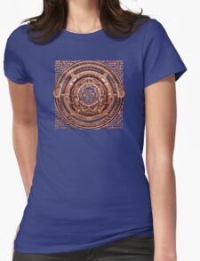 Aztec Time Travel Pendant Medallion Womens Fitted T-Shirt