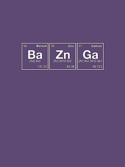 Ba Zn Ga! Periodic Table Scrabble [monotone] by dennis william gaylor