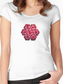 Abstract Color Pattern in Red Women's Fitted Scoop T-Shirt