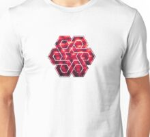 Abstract Color Pattern in Red Unisex T-Shirt