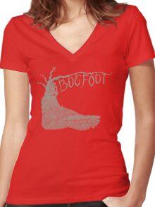 Bogfoot Swamp Thing Woodcut Women's Fitted V-Neck T-Shirt